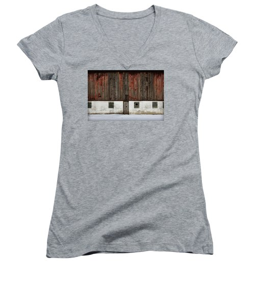 Women's V-Neck T-Shirt (Junior Cut) featuring the photograph Broad Side Of A Barn by Julie Hamilton