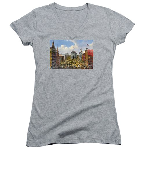 Broadway New York City 1875 Women's V-Neck T-Shirt (Junior Cut) by Padre Art