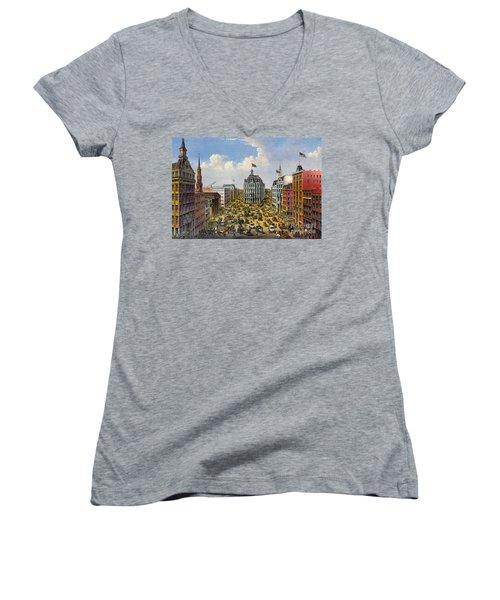 Broadway New York City 1875 Women's V-Neck T-Shirt