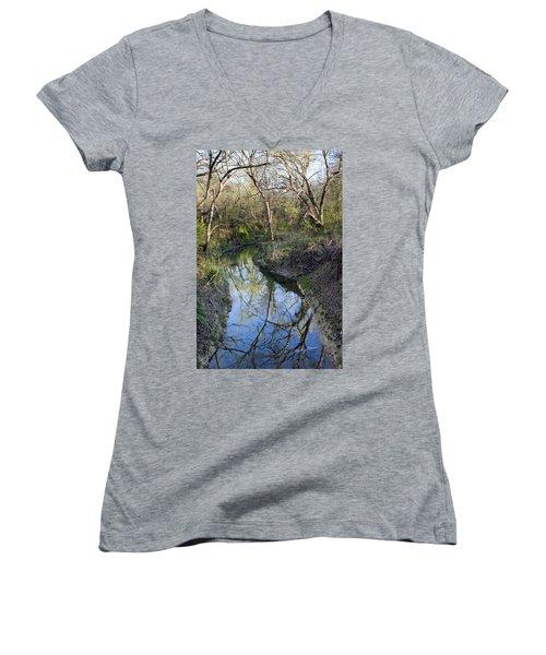 Broken Branch Creek Women's V-Neck T-Shirt (Junior Cut) by Ricky Dean
