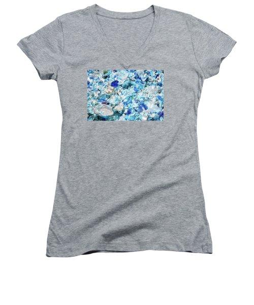 Broken Glass Blue Women's V-Neck