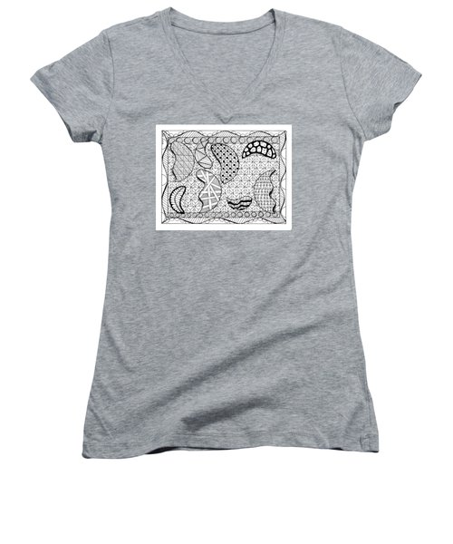 Women's V-Neck featuring the drawing Broken Moons by Vicki Winchester