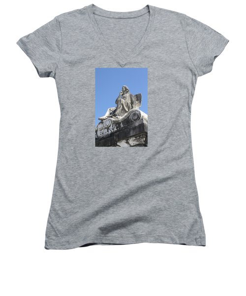 Women's V-Neck T-Shirt (Junior Cut) featuring the painting Broken Wing by Tbone Oliver