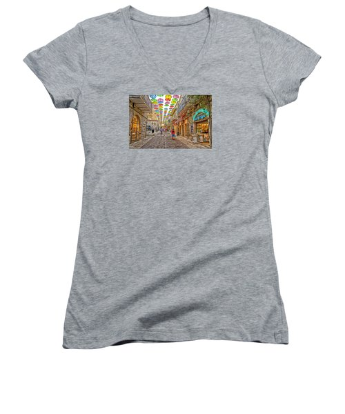 Women's V-Neck T-Shirt (Junior Cut) featuring the photograph Brollies Over Jerusalem by Uri Baruch