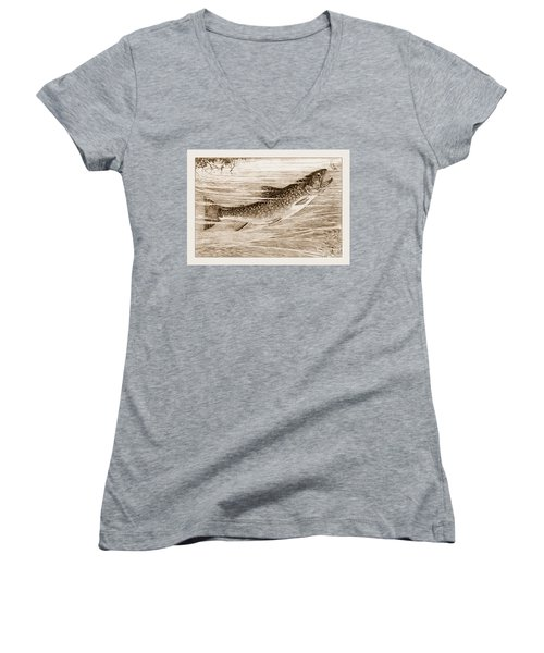 Women's V-Neck T-Shirt (Junior Cut) featuring the photograph Brook Trout Going After A Fly by John Stephens