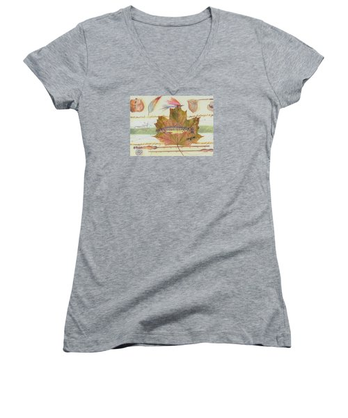 Brook Trout On Fly #2 Women's V-Neck T-Shirt (Junior Cut) by Ralph Root