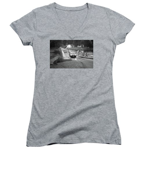 Women's V-Neck T-Shirt (Junior Cut) featuring the photograph Brookfield, Vt - Floating Bridge 3 Bw by Frank Romeo