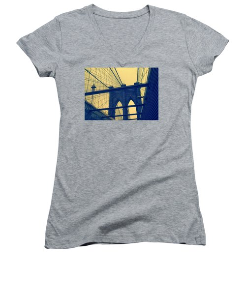 New York City's Famous Brooklyn Bridge Women's V-Neck (Athletic Fit)