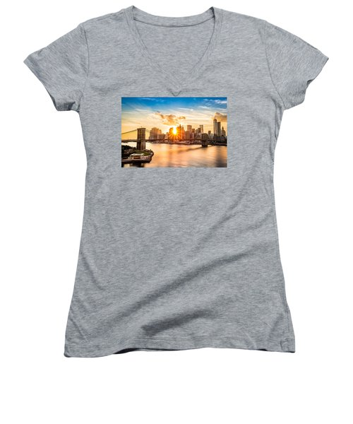 Brooklyn Bridge And The Lower Manhattan Skyline At Sunset Women's V-Neck (Athletic Fit)