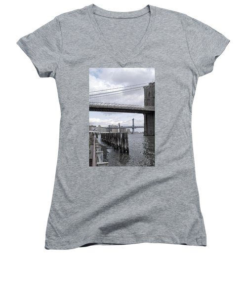 Brooklyn Bridge II Women's V-Neck T-Shirt