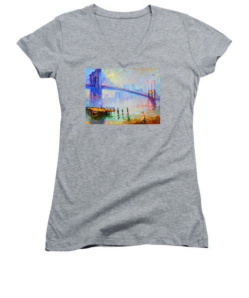 Brooklyn Bridge In A Foggy Morning Women's V-Neck T-Shirt (Junior Cut) by Ylli Haruni