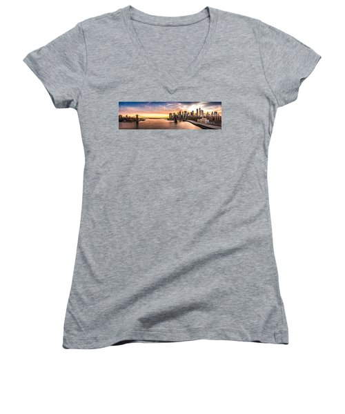 Brooklyn Bridge Panorama Women's V-Neck (Athletic Fit)