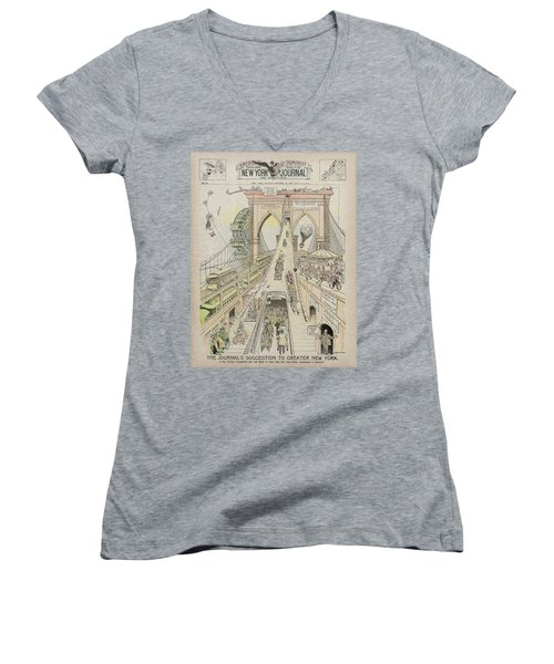 Women's V-Neck T-Shirt (Junior Cut) featuring the photograph Brooklyn Bridge Trolley Right Of Way Controversy 1897 by Daniel Hagerman