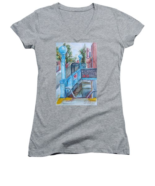 Brooklyn Subway Stop Women's V-Neck (Athletic Fit)