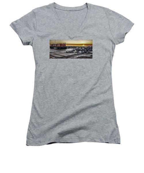 Brooklyn Waterfront Sunset Women's V-Neck T-Shirt (Junior Cut) by Jeffrey Friedkin
