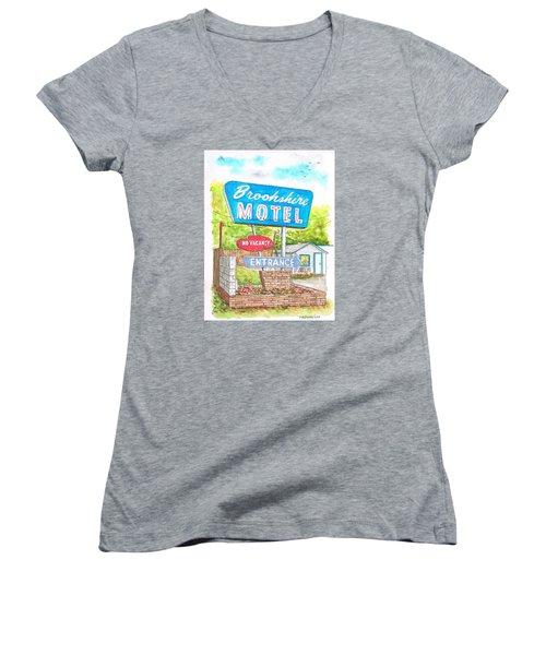 Brookshire Motel In Route 66, Tulsa, Oklahoma Women's V-Neck T-Shirt (Junior Cut) by Carlos G Groppa