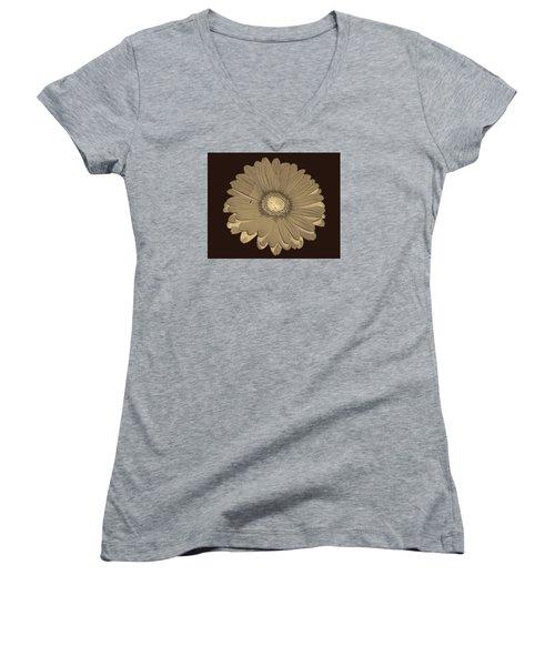 Brown Art Women's V-Neck T-Shirt (Junior Cut) by Milena Ilieva