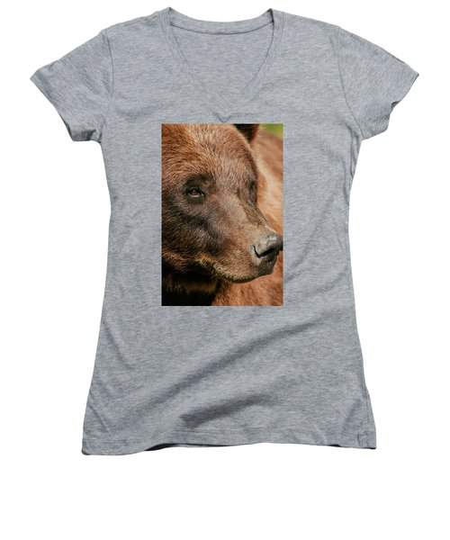 Brown Bear Women's V-Neck (Athletic Fit)