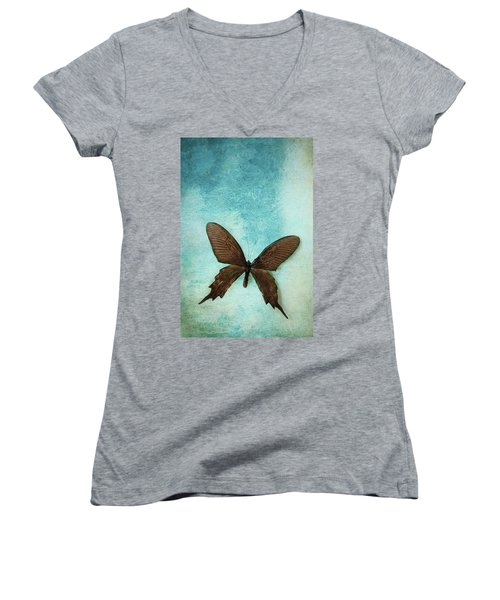 Brown Butterfly Over Blue Textured Background Women's V-Neck