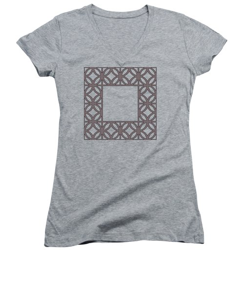 Women's V-Neck T-Shirt (Junior Cut) featuring the digital art Brown Circles And Squares by Chuck Staley