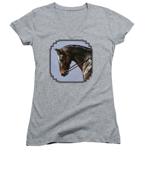 Brown Dressage Horse Phone Case Women's V-Neck (Athletic Fit)
