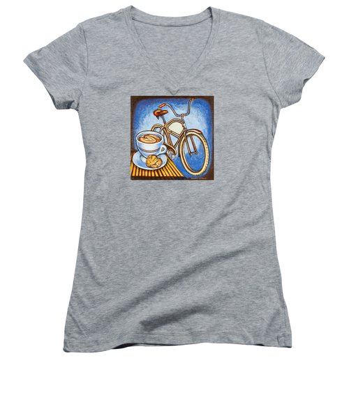 Brown Electra Delivery Bicycle Coffee And Amaretti Women's V-Neck T-Shirt (Junior Cut) by Mark Jones