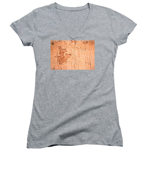 Women's V-Neck T-Shirt (Junior Cut) featuring the photograph Brown Paint Texture by John Williams