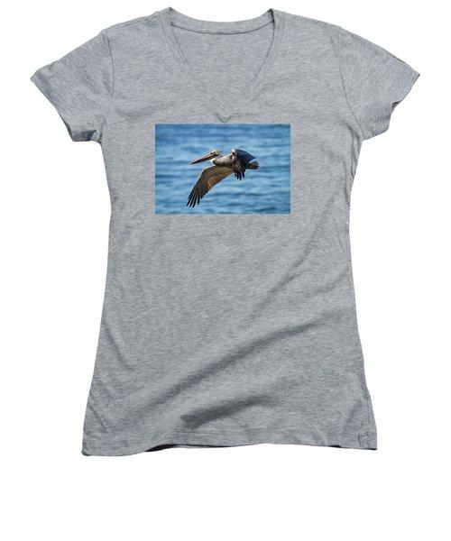 Brown Pelican In Flight Women's V-Neck