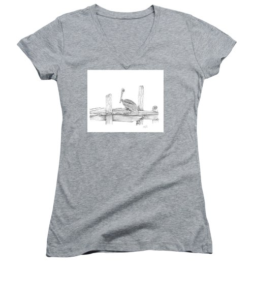 Women's V-Neck T-Shirt (Junior Cut) featuring the drawing Brown Pelican by Patricia Hiltz