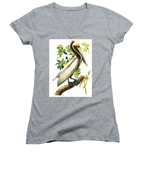 Brown Pelican Women's V-Neck T-Shirt (Junior Cut) by Pg Reproductions