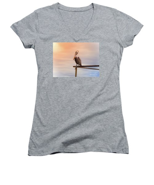 Women's V-Neck T-Shirt (Junior Cut) featuring the photograph Brown Pelican Sunset by Robert Frederick
