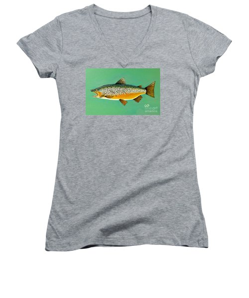 Brown Trout Women's V-Neck (Athletic Fit)