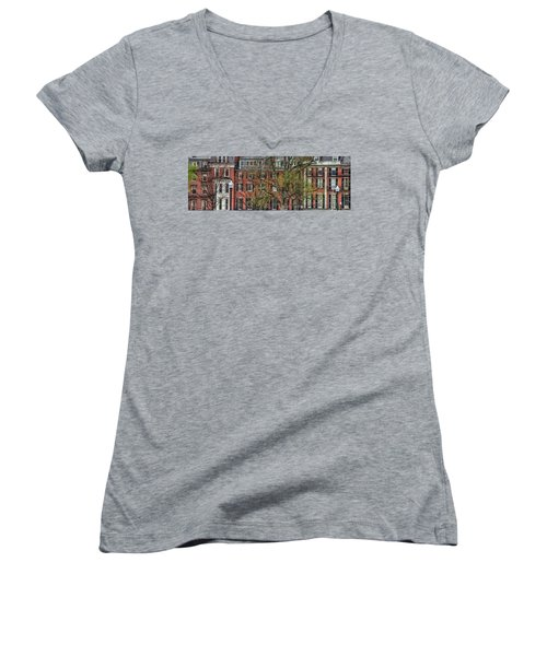 Women's V-Neck T-Shirt (Junior Cut) featuring the photograph Brownstone Panoramic - Beacon Street Boston by Joann Vitali