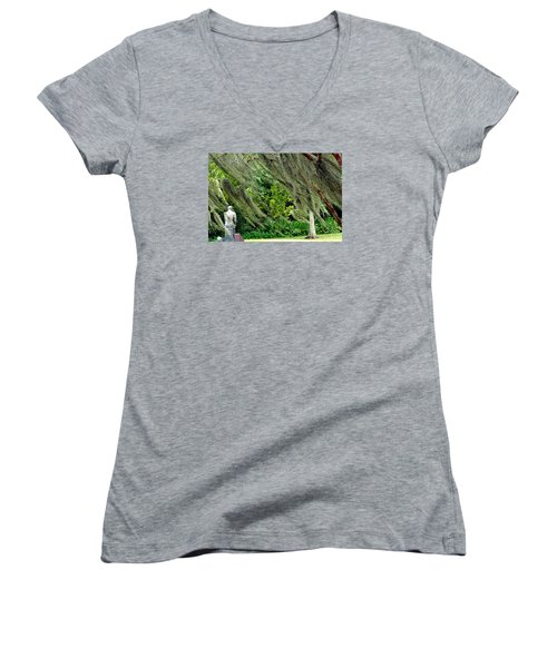 Brownwell Memorial Park Women's V-Neck T-Shirt (Junior Cut) by Helen Haw