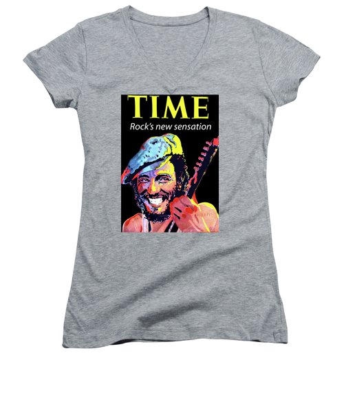 Bruce Springsteen Time Magazine Cover 1980s Women's V-Neck (Athletic Fit)