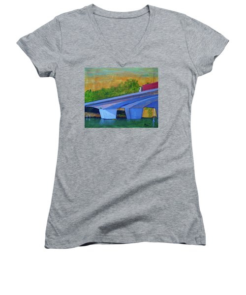 Women's V-Neck T-Shirt (Junior Cut) featuring the painting Brunswick River Bridge by Paul McKey