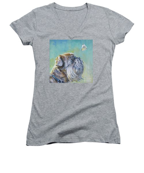Brussels Griffon With Butterfly Women's V-Neck T-Shirt (Junior Cut) by Lee Ann Shepard