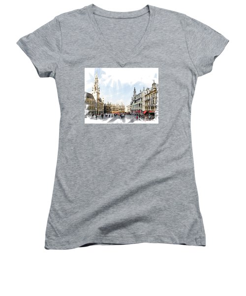 Women's V-Neck T-Shirt (Junior Cut) featuring the photograph Brussels Grote Markt  by Tom Cameron