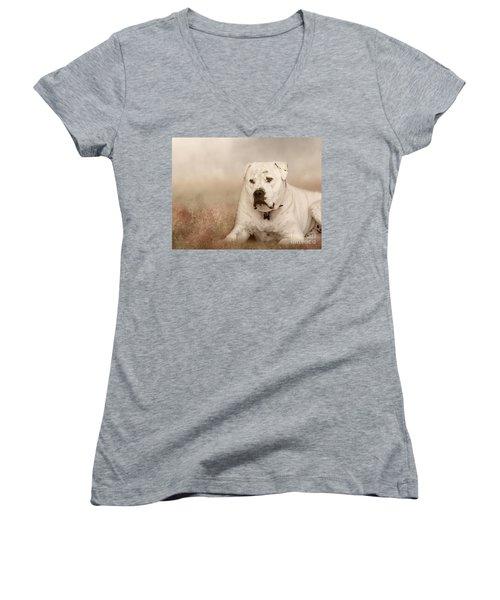 Women's V-Neck T-Shirt (Junior Cut) featuring the photograph Brutus Dreaming by Elaine Teague
