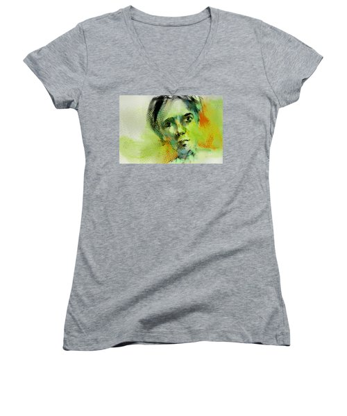 Women's V-Neck T-Shirt (Junior Cut) featuring the painting Bryant by Jim Vance