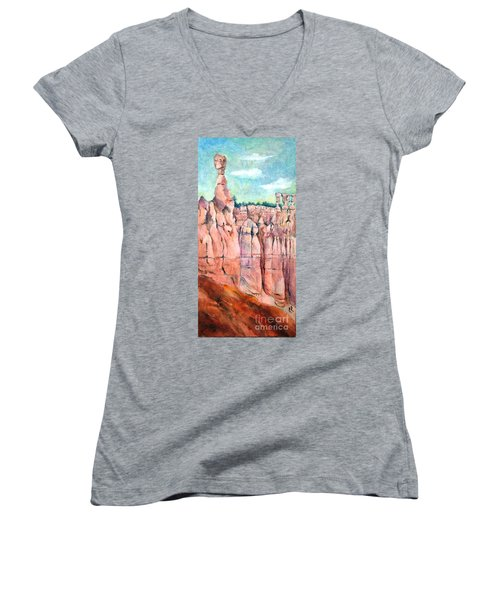 Bryce Canyon #1  Women's V-Neck T-Shirt (Junior Cut) by Betty M M Wong