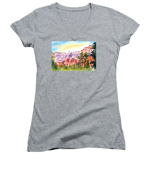 Bryce Canyon #3 Women's V-Neck T-Shirt (Junior Cut) by Betty M M Wong