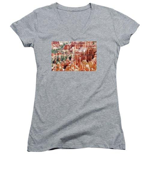 Bryce Canyon Hoodoos Women's V-Neck T-Shirt (Junior Cut) by Nancy Landry