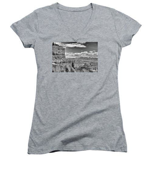 Bryce Canyon In Black And White Women's V-Neck T-Shirt (Junior Cut) by Nancy Landry