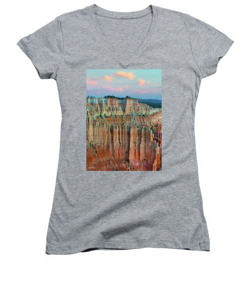 Bryce Canyon Women's V-Neck T-Shirt (Junior Cut) by Tim Fitzharris