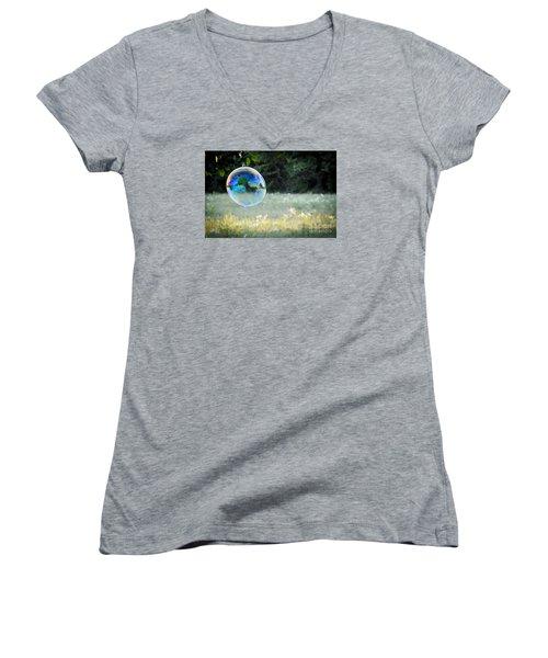 Bubble Women's V-Neck T-Shirt (Junior Cut) by Cheryl McClure