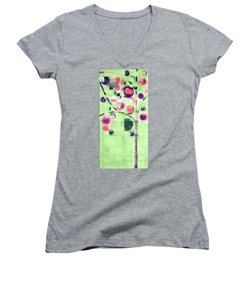Women's V-Neck T-Shirt (Junior Cut) featuring the digital art Bubble Tree - 224c33j5l by Variance Collections