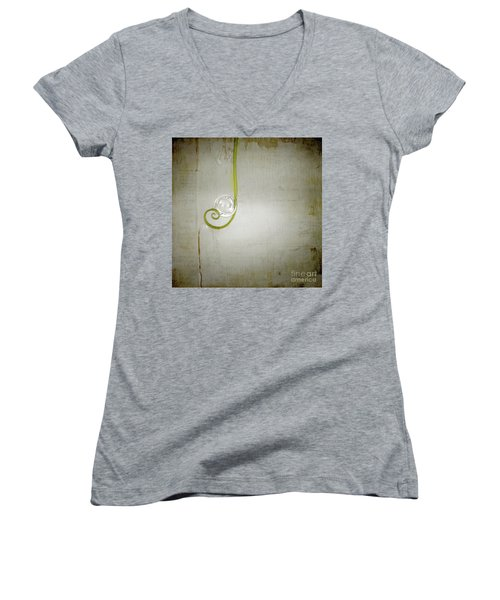 Women's V-Neck T-Shirt (Junior Cut) featuring the digital art Bubbling - 02tt04a by Variance Collections