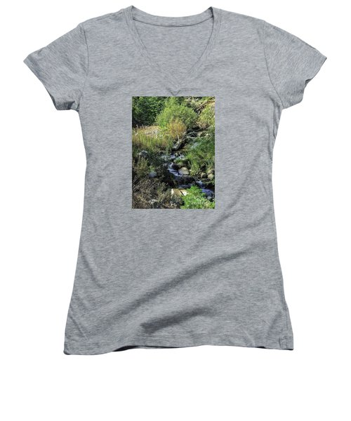 Women's V-Neck T-Shirt (Junior Cut) featuring the photograph Bubbling Brook by Nancy Marie Ricketts