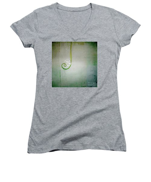 Women's V-Neck T-Shirt (Junior Cut) featuring the digital art Bubbling -  S24aabbcc by Variance Collections